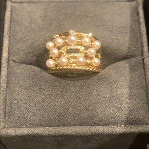 $2,950 David Yurman Petite Perle Ring 18k Diamonds